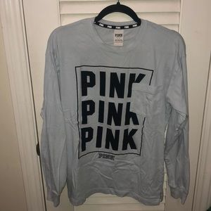 VS PINK long sleeve logo tee women's size small